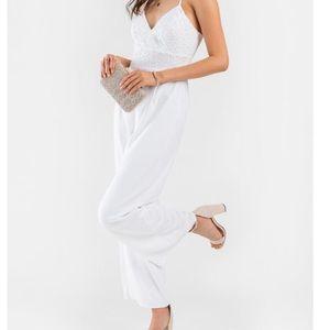 White Lace Jumpsuit NWT